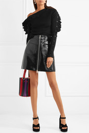 Crinkled faux patent-leather mini skirt