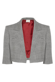 Cropped Prince of Wales checked wool-blend blazer