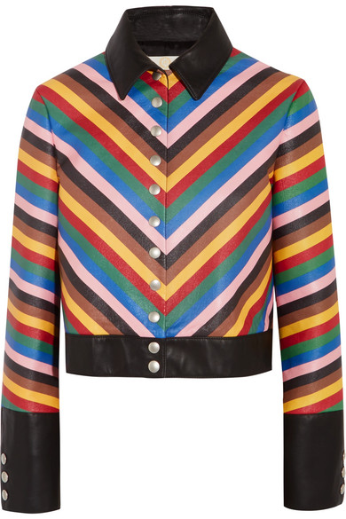 Sara Battaglia - Rainbow Cropped Striped Leather Jacket - Blue