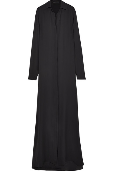 Juan Carlos Obando - Silk-georgette Maxi Shirt Dress - Black