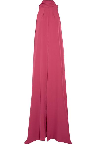 Juan Carlos Obando - Santos Cutout Layered Silk Crepe De Chine Gown - Bright pink