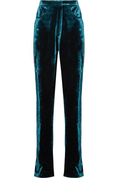 Juan Carlos Obando - Velvet Straight-leg Pants - Petrol