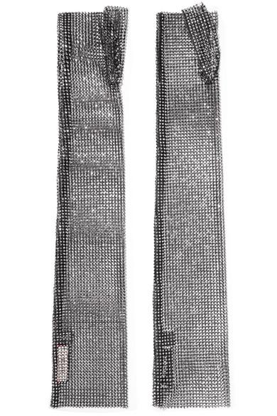 Crystal-embellished crochet-knit cotton fingerless gloves