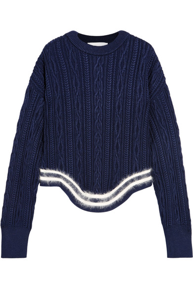 Esteban Cortazar - Striped Cable-knit Sweater - Navy