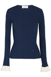 Cotton jersey-trimmed ribbed-knit sweater