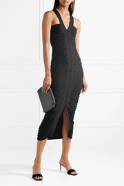 The Row Davinah ruched stretch-knit midi dress