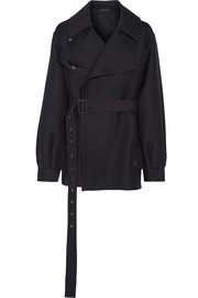 Shamsta belted wool and silk-blend coat