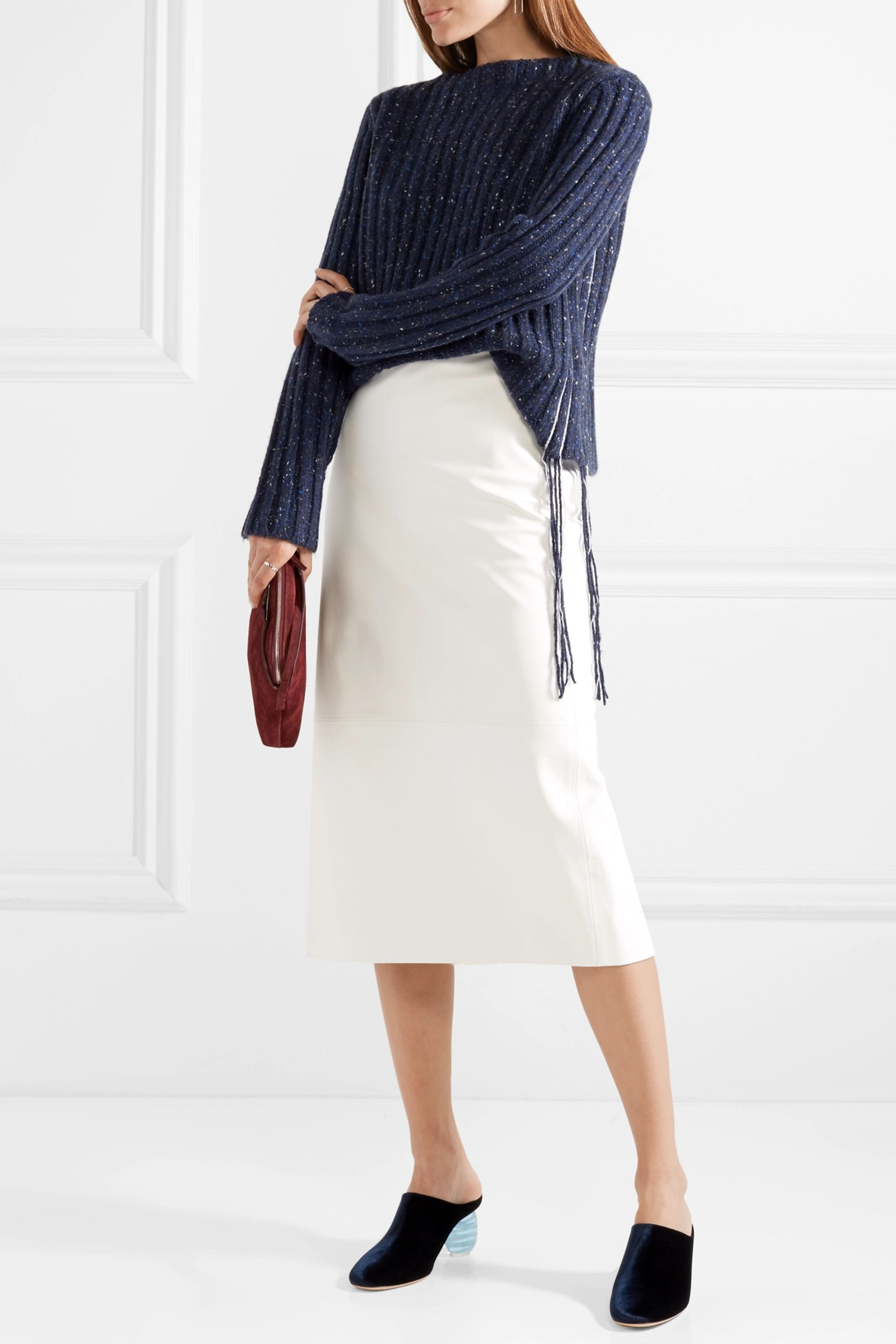 The Row Fenix fringe-trimmed ribbed cashmere sweater