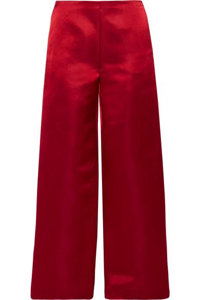 The Row - Strom Silk-satin Wide-leg Pants - Burgundy