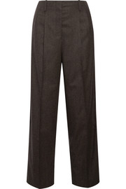 The Row Firth mélange wool-blend felt wide-leg pants