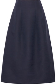 Batley wool and silk-blend midi skirt