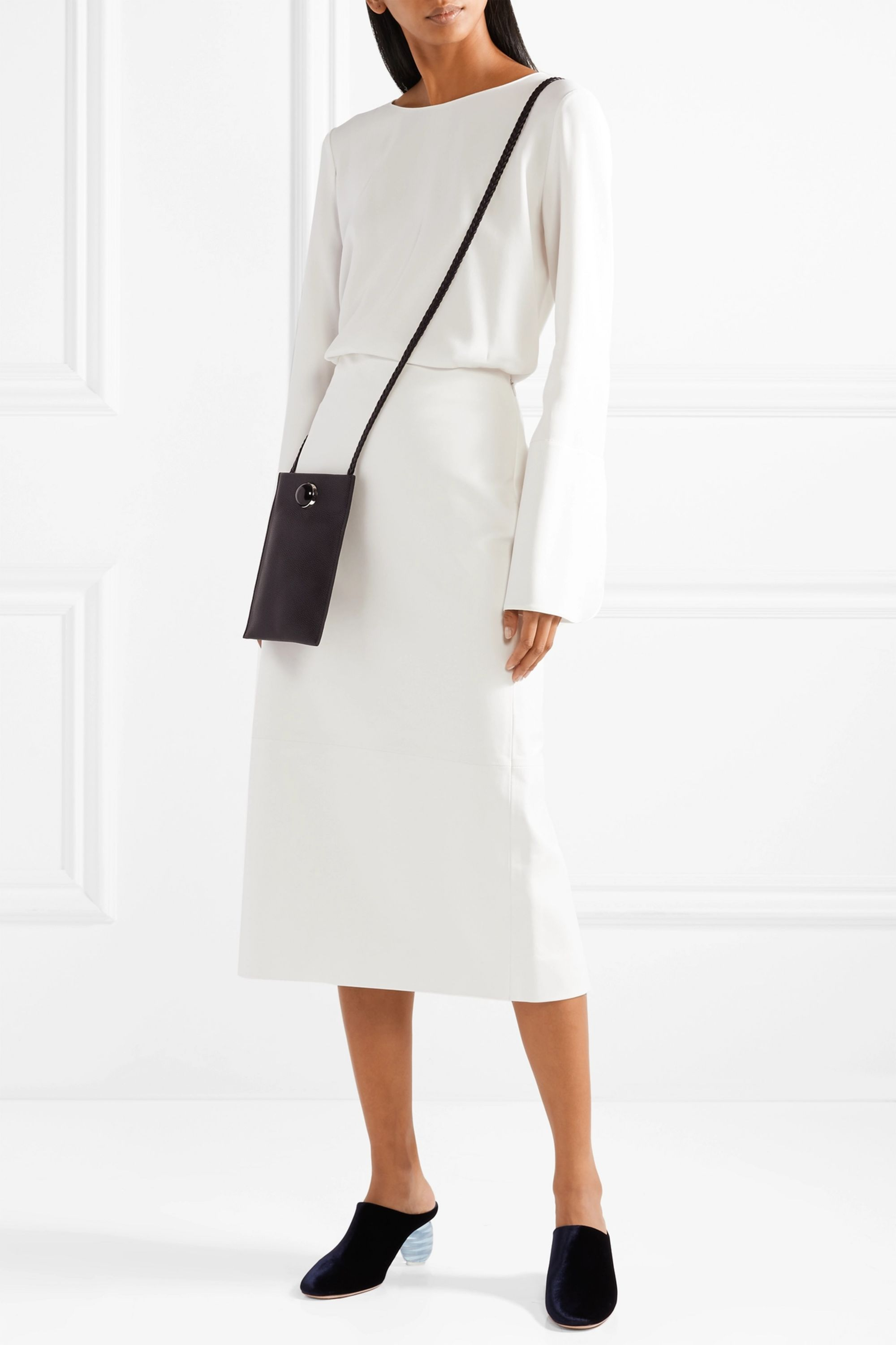 The Row Terst leather midi skirt