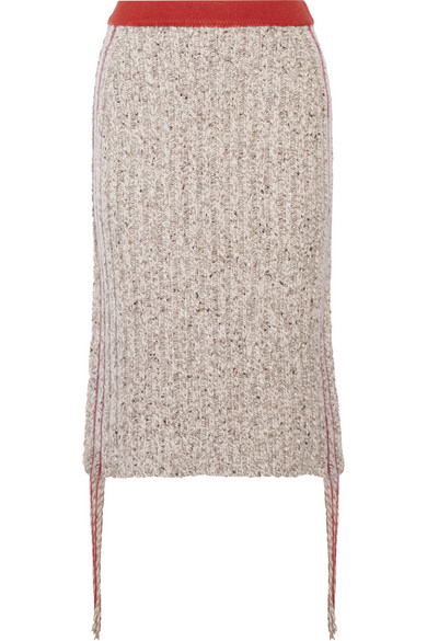 The Row - Melodie Fringed Ribbed Cashmere Skirt - Mushroom