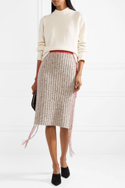 Melodie fringed ribbed cashmere skirt