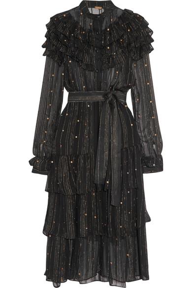 61763ac3c589 DODO BAR OR Suzie Ruffle-Trimmed Striped Chiffon Dress