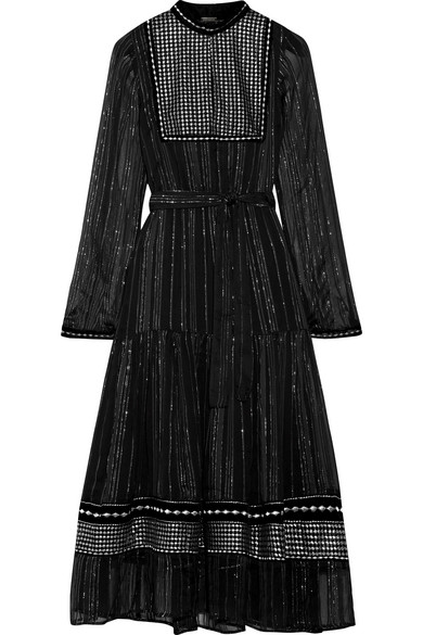 DODO BAR OR Karla Embroidered Tulle-Trimmed Chiffon Dress in Black