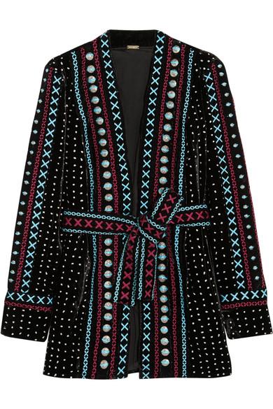 Dodo Bar Or - Siya Embroidered Metallic Velvet Jacket - Black
