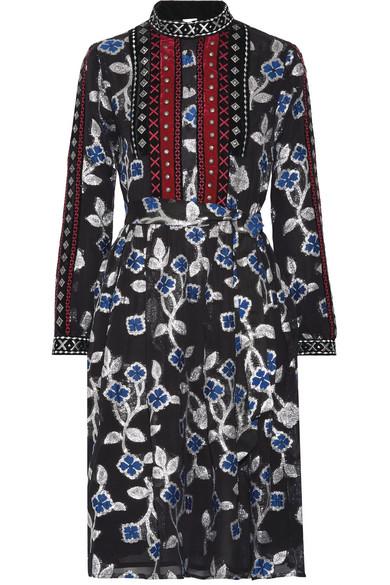 DODO BAR OR Embellished Velvet-Trimmed Metallic Fil Coupé Chiffon Dress in Black