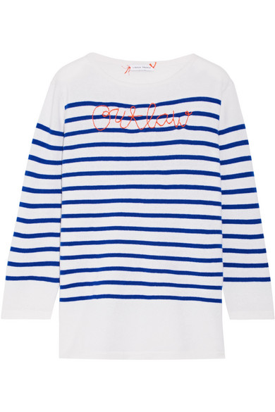 Lingua Franca - Outlaw Embroidered Striped Cashmere Sweater - Bright blue