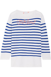 Lingua Franca Outlaw embroidered striped cashmere sweater