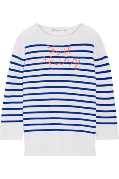 Lingua Franca - That Thing Embroidered Striped Cashmere Sweater - Bright blue