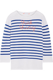 That Thing embroidered striped cashmere sweater