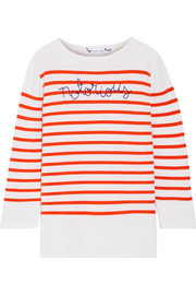Lingua Franca Notorious embroidered striped cashmere sweater