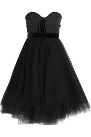 Velvet-trimmed faille and Swiss-dot tulle dress
