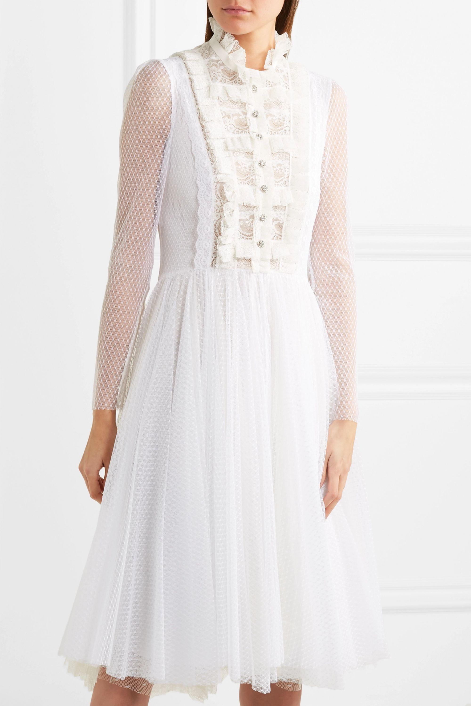 Philosophy di Lorenzo Serafini Ruffled lace-paneled polka-dot tulle midi dress