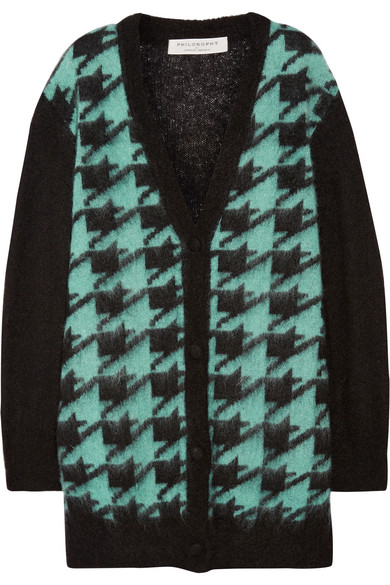 Philosophy Di Lorenzo Serafini Houndstooth Mohair-blend Cardigan In Black