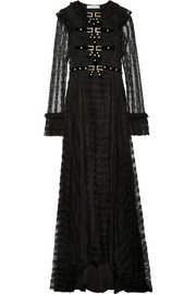 Philosophy di Lorenzo Serafini Embellished velvet-trimmed lace gown