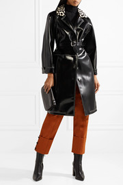 Printed calf hair-trimmed faux patent-leather coat