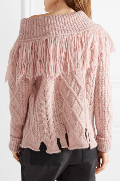 Philosophy di Lorenzo Serafini. Fringed off-the-shoulder cable-knit alpaca-blend  sweater a4bfb921e