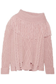 Fringed off-the-shoulder cable-knit alpaca-blend sweater