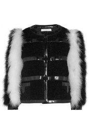 Feather and faux leather-trimmed mohair-blend bouclé jacket