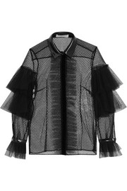 Philosophy di Lorenzo Serafini Faux leather-trimmed Swiss-dot tulle and lace blouse