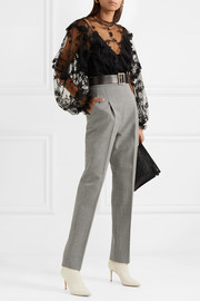 Houndstooth wool straight-leg pants