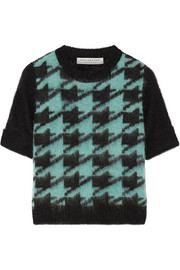 Philosophy di Lorenzo Serafini Cropped houndstooth mohair-blend sweater