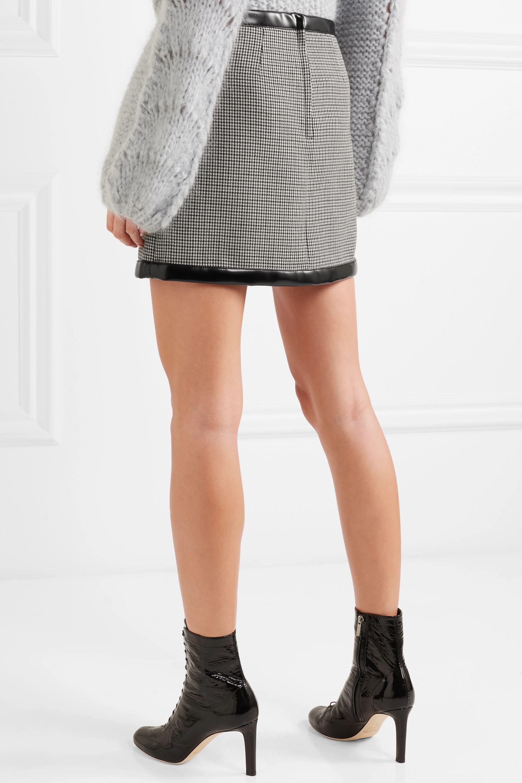 Philosophy di Lorenzo Serafini Faux leather-trimmed houndstooth wool mini skirt