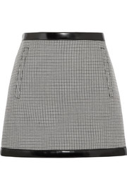 Faux leather-trimmed houndstooth wool mini skirt