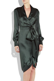 Yves%20Saint%20Laurent Silk-satin%20wrap-style%20dress