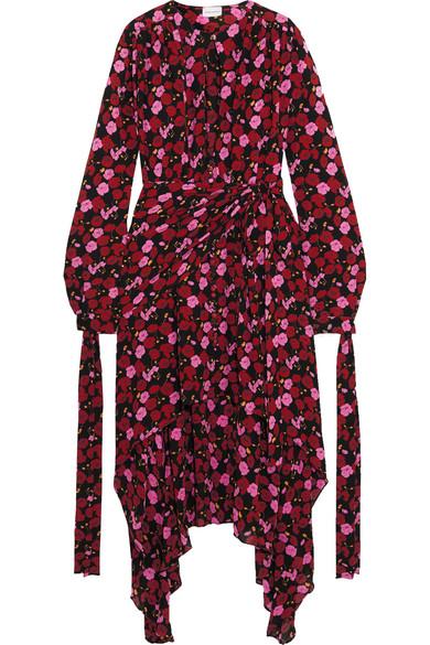 Magda Butrym - Gela Asymmetric Printed Silk-crepe Midi Dress - Plum
