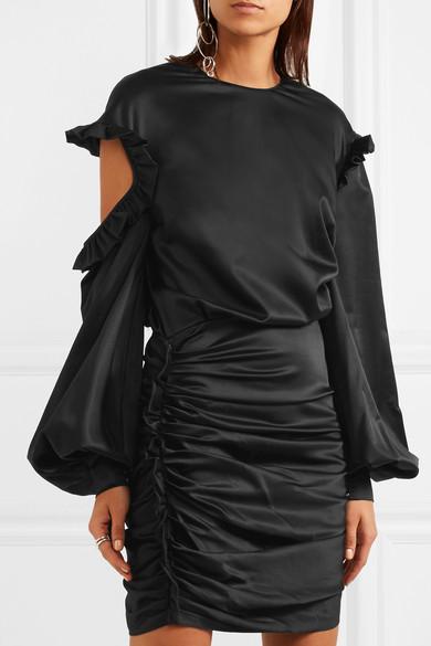 Magda Butrym Woman Acapulco Ruffled Cutout Silk-satin Mini Dress Black Size 38 Magda Butrym rRZpnLw