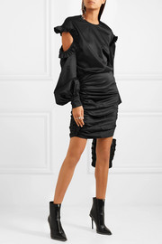 Magda Butrym Acapulco ruffled cutout silk-satin mini dress