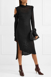 Mendoza cold-shoulder ruffled crocheted silk and leather midi dress