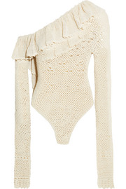 Magda Butrym Natal one-shoulder ruffled crocheted cotton-blend bodysuit