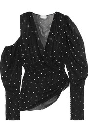 Dresden metallic polka-dot silk-blend blouse