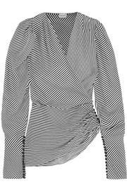 Ronda asymmetric draped striped silk blouse
