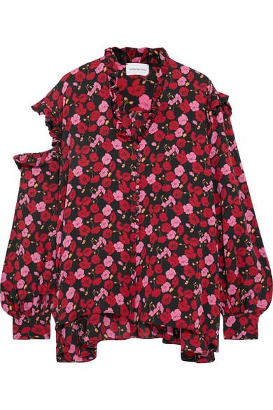 Magda Butrym - Forli Cold-shoulder Ruffled Floral-print Silk-crepe Blouse - Pink