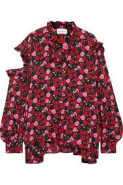 Forli cold-shoulder ruffled floral-print silk-crepe blouse